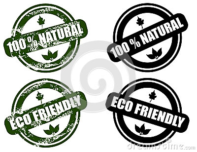 Natural / Eco Friendly Grunge Stamp Set Royalty Free Stock Photo - Image: 26151055
