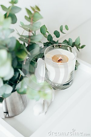 Free Natural Eco Home Decor With Green Leaves And Burning Candle On T Stock Images - 108369794