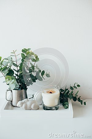 Free Natural Eco Home Decor With Green Leaves And Burning Candle On T Royalty Free Stock Photos - 108369808