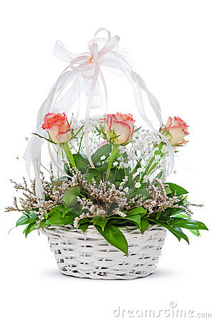 Natural flowers in basket