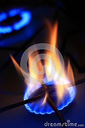 Natural gas burning.