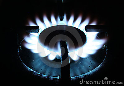 Natural gas flame on stove