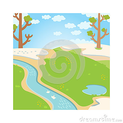 Natural green grass spring background with river, trees, birds and white clouds vector. Vector Illustration