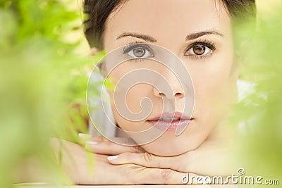 Natural Green Health Spa Concept Beautiful Woman