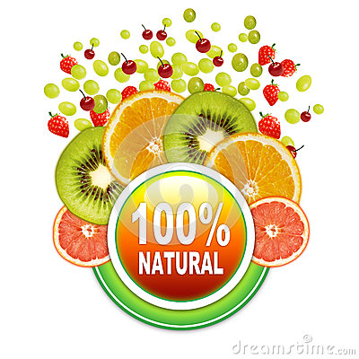 100   Natural Fruits sticker lable