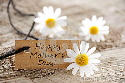 Natural Label with Happy Mothers Day Stock Photo