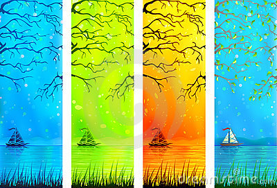Natural lake scenery banners with a small boat
