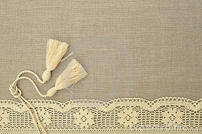 Natural linen background with lace