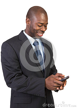 Natural Looking African Male Texting Isolated