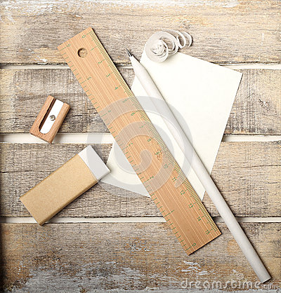 Study tools set on wooden background