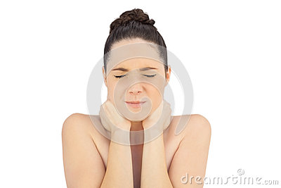 Natural model suffering from painful neck