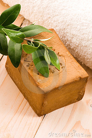 Free Natural Olive Soap With Fresh Branch Royalty Free Stock Photo - 20239895