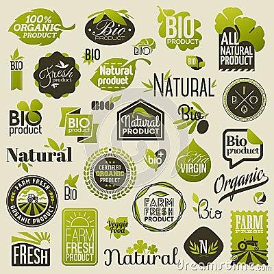 Free Natural Organic Product Labels And Emblems. Set Of Vectors Royalty Free Stock Photo - 36037935