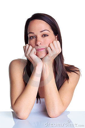Natural portrait of an attractive brunette woman