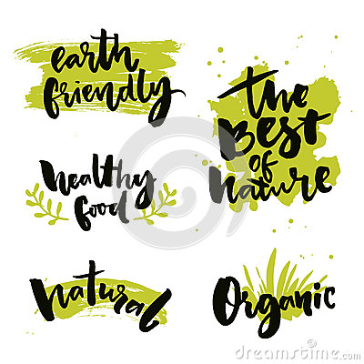 Free Natural Product Badges And Labels. Stickers With Calligraphy Words. The Best Of Nature, Healthy Food, Earth Friendly Royalty Free Stock Photos - 78070218