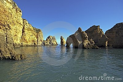 Natural rocks near Lagos in Portugal