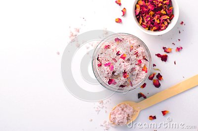 Natural Rose Sugar Scrub, Homemade Cosmetics, Spa Treatment Stock Photo