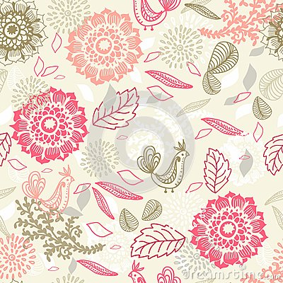 Seamless background with flower and bird