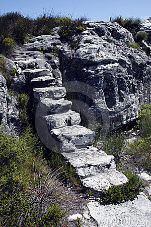 Natural set of stairs or steps at the top of table
