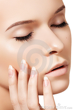 Natural skincare beauty, clean soft skin, manicure