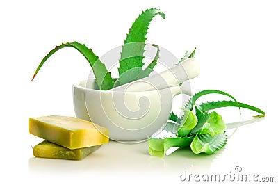 Natural soap and aloe vera