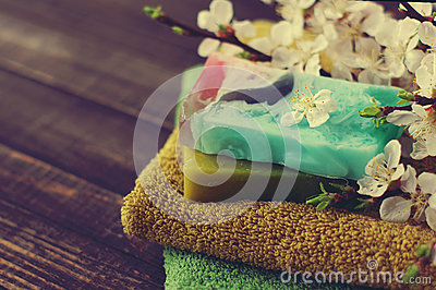 Natural soap of handwork, towel, and spring branches of an apricot Stock Photo
