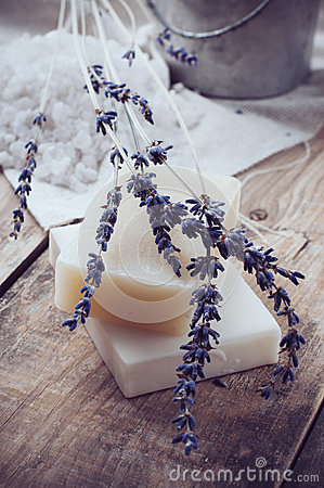 Natural soap, lavender, salt, cloth