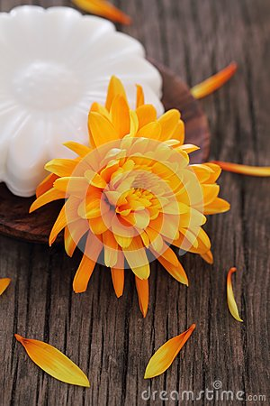 Natural soap with orange flower