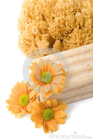 Natural sponge, soap and flowers
