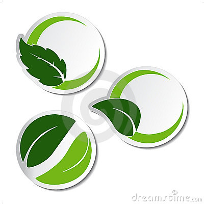 Natural stickers with leaf
