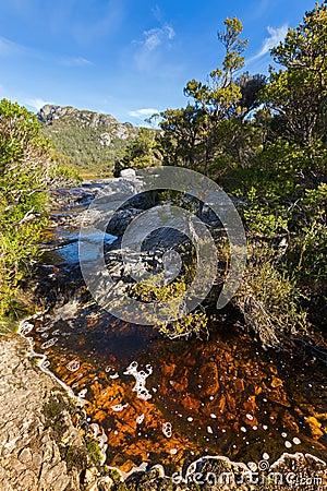 Free Natural Stream Of Water Running Through Volcanic Basalt Rock At Royalty Free Stock Photo - 94216285