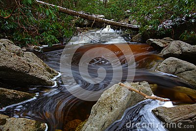 Natural tannin colored stream in the mountains