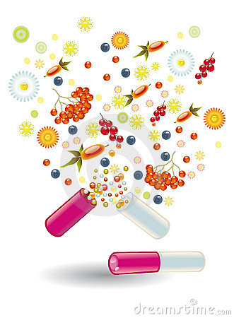 Natural vitamins are in a pill