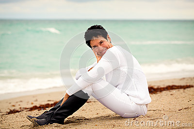 Natural woman at beach