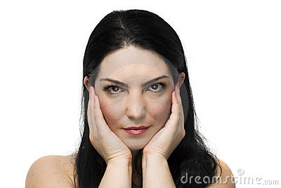 Natural woman face with health skin