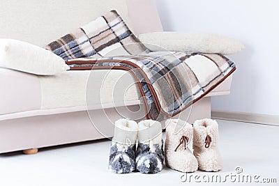 Natural woollen slippers an blanket