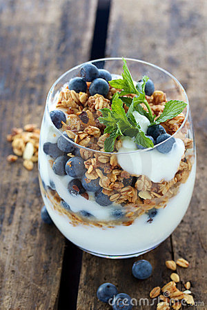 Natural yogurt with berries and muesli