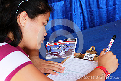 Naturalized Citizen Registering to Vote Editorial Photography