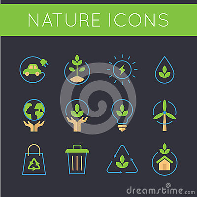 Free Nature And Go Green Icons Royalty Free Stock Images - 69757869