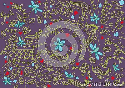 Nature art seamless pattern