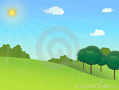 Nature Background With Clouds, Trees, Birds Stock Photo - Image ...
