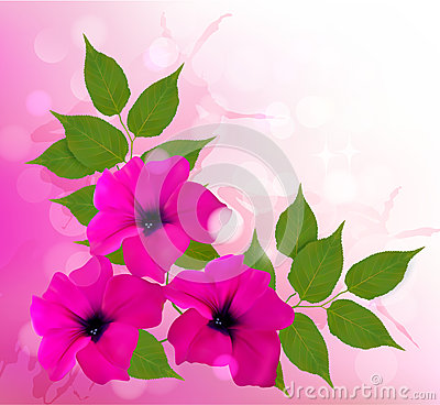 Nature background with pink beautiful flowers. Vec