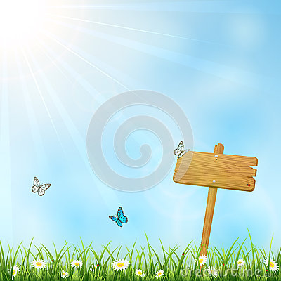 Nature background with wooden sign Vector Illustration