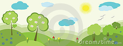 Nature banner , spring