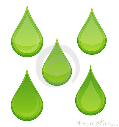 Nature bio drop symbols set green color