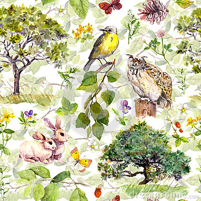 Free Nature: Bird, Rabbit, Tree, Leaves, Flowers, Grass. Seamless Pattern. Water Color Stock Photography - 90347892