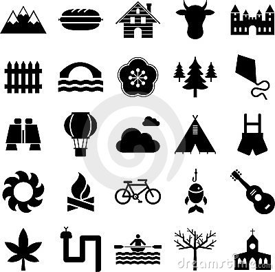 Nature, camping and outdoor activities icons