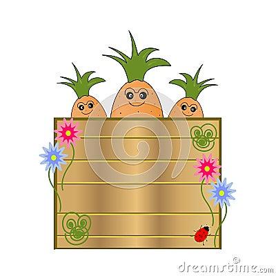 Nature cartel with cartoon carrots