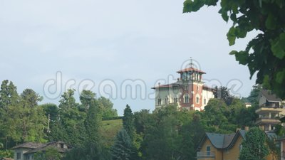 Nature and classic buildings. House on sky background stock video footage