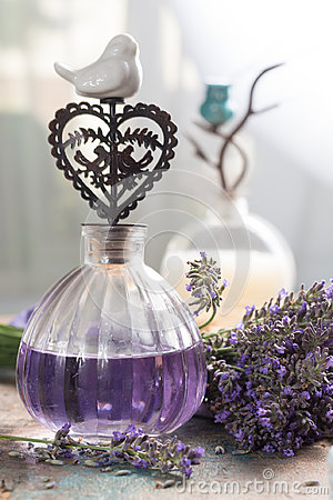 Free Nature Cosmetics, Handmade Preparation Of Essential Oils, Parfums, Creams, Soaps From Fresh And Dried Lavender Flowers, French Ar Stock Image - 95784471